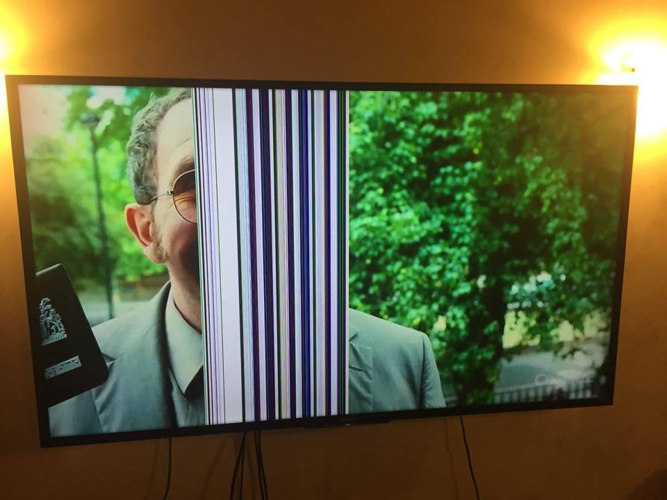 Tv sony kdl-60w855b con 1/4 de pantalla co lineas verticales ...