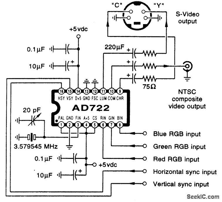 Circuito conversor de se al vga a video compuesto RCA