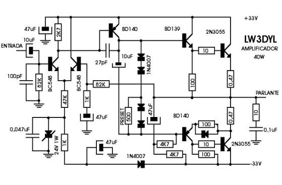 amplificador transitorizado  recalienta la etapa de salida