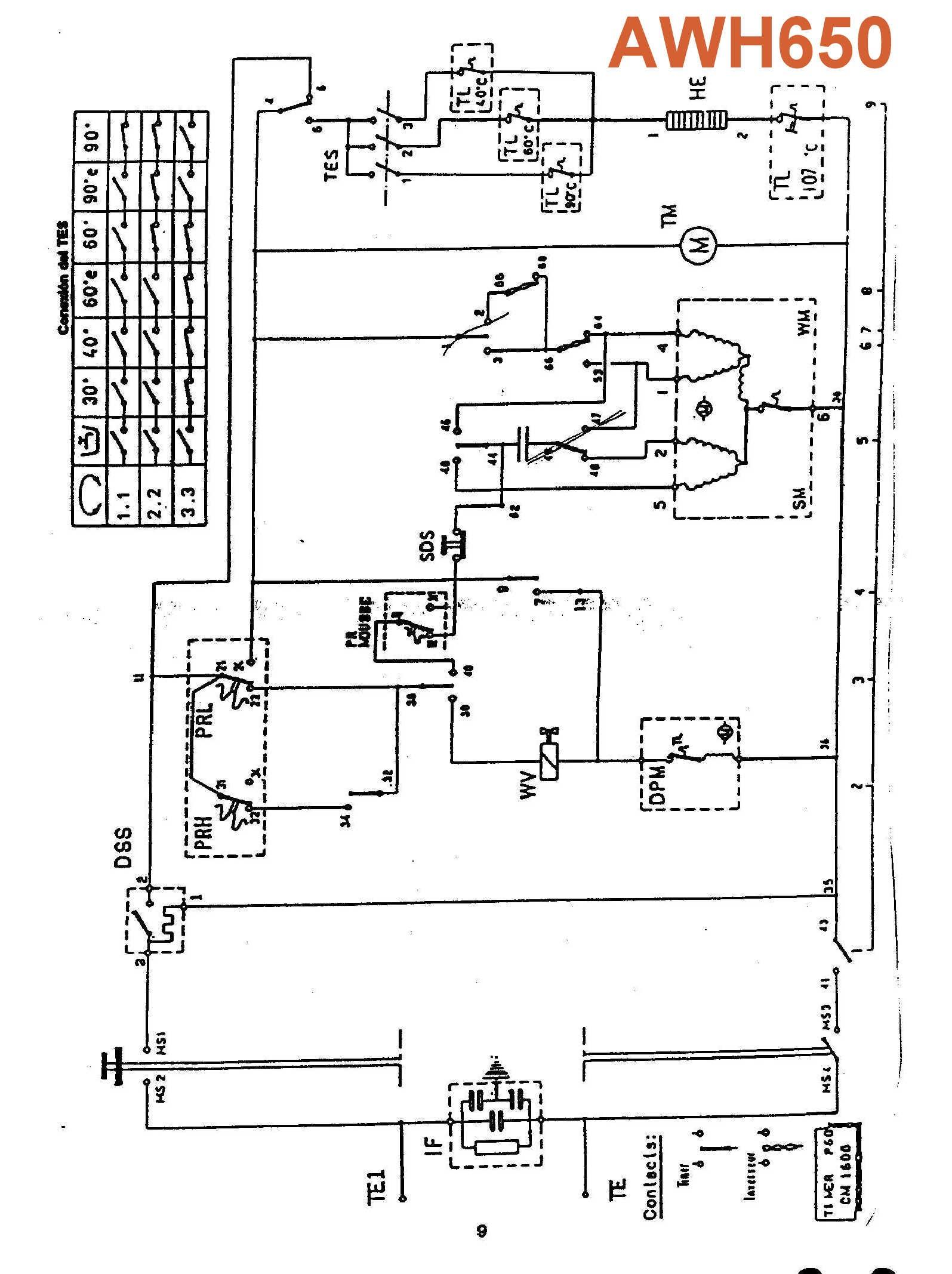 circuito el u00e9ctrico lavarropas eslab u00f3n de lujo awh650