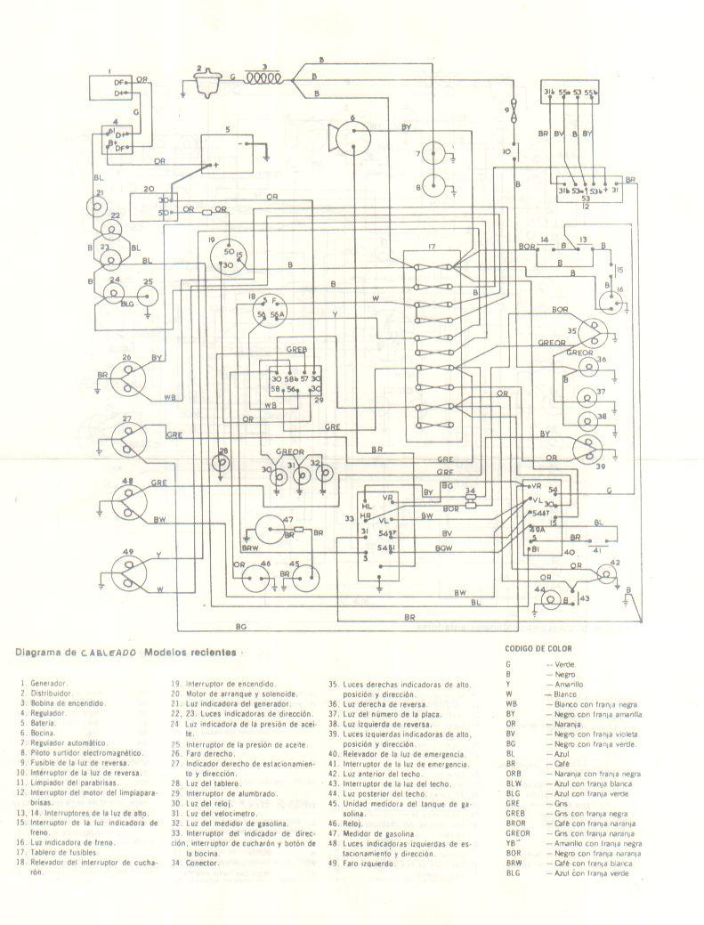 diagrama electrico vw combi motor 1600 modelo 1983