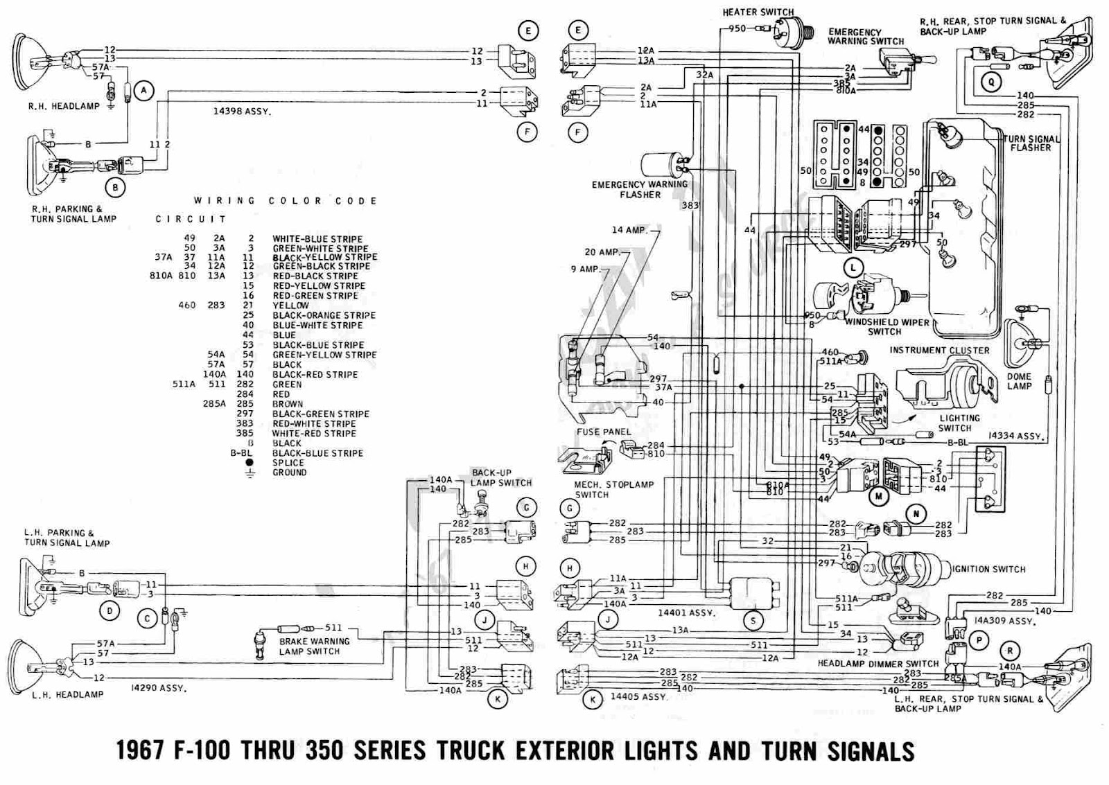 Ford F 100 Through F 350 Truck 1967 Exterior Lights and Turn Signals Wiring Diagram ford f350 trailer wiring harness diagram periodic tables 2004 ford f350 wiring diagram at soozxer.org