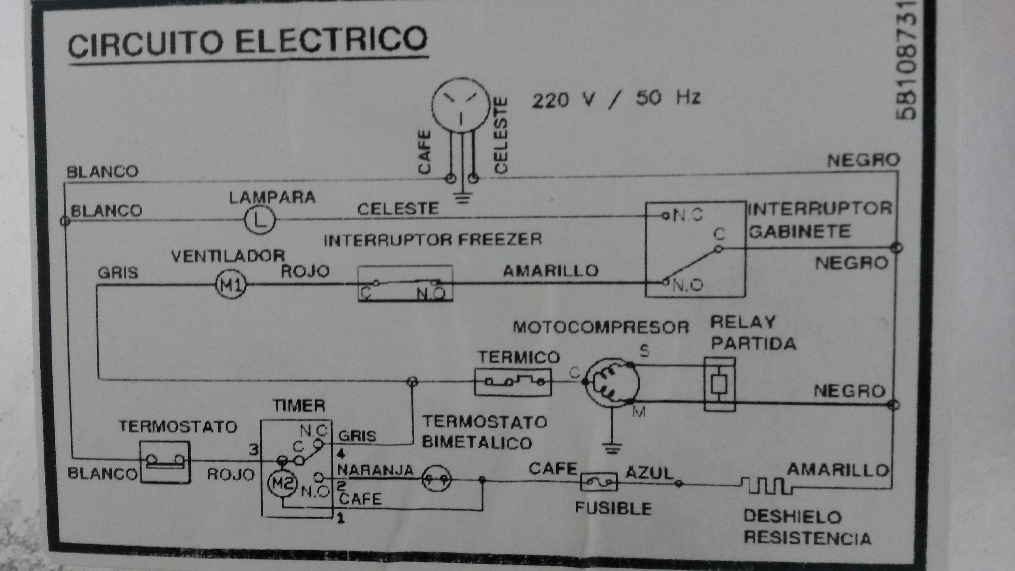 Circuito Electrico Heladera Comercial : Heladera gaffa no frost se detiene el timer yoreparo