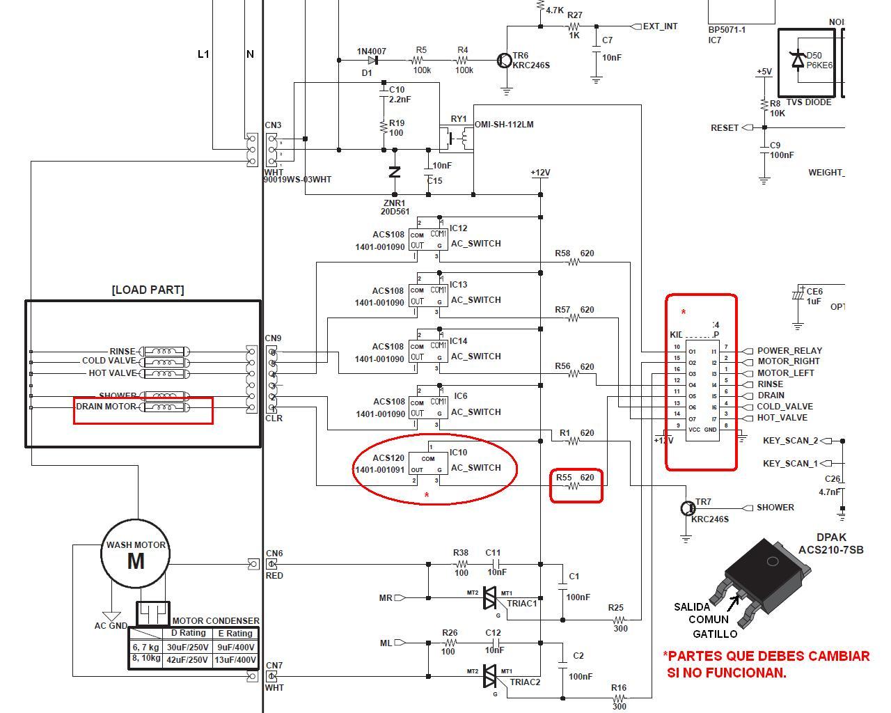lavadora samsung modelo wa17w9sdp no enjuaga ni centrifuga